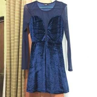 Velvet mesh dress (see through)
