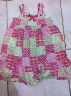 Pink green patchwork dress