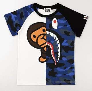 Shark + Baby Milo A Bathing Ape Kids Tee