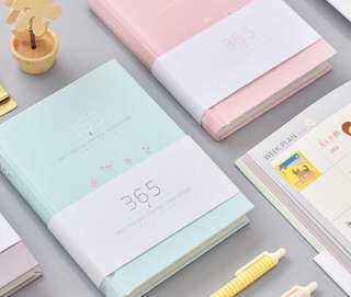 365 Pastel Macaron Floral Planner Thick Cover Notebook