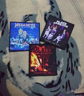 Lot 3 woven patch megadeth/black sabbath/balck fire