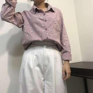 🚚 芋頭色 藕紫色 雪紡襯衫