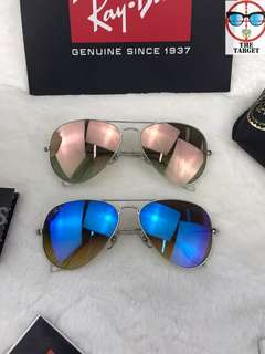 Ray Ban 太陽眼鏡 aviator flash lenses rb3025 58mm size brand new original full packages made in Italy RB3025 019/8b 58mm size