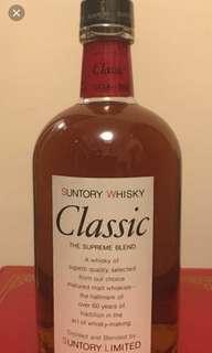 陳年老日威,三得利Classic 威士忌700ml with box.