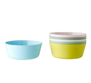 NEW COLOR IKEA 6pc Assorted Color Bowls (Australia)