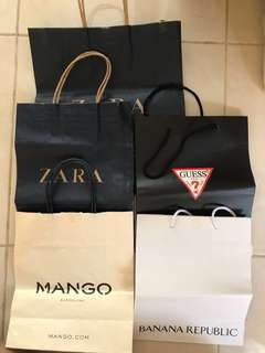 Paper Bag Zara, Mango, Guess, Banana Republic, Swatch, Sayurbox, Melissa, Starbucks Christmas, Nine West