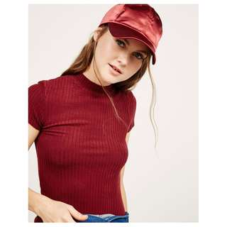 NEW Bershka High Neck Ribbed Crop Top in Red