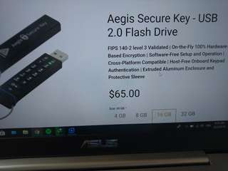 Apricorn Aegis Secure Key - USB 2.0 hardware based encryption thumb