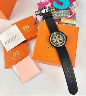 Tory Burch Black Dial & Black Leather Watch Strap 36mm