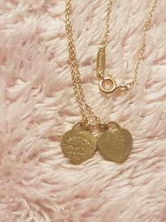 Tiffany & Co. 18k Gold Double Mini Heart Tag Necklace
