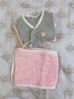 🚚 ✨新生兒綁帶式上衣送肚圍