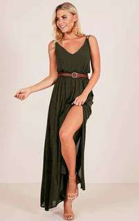 🔴Maxi with side  slit and belt dress