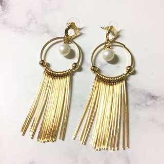 珍珠金條耳環(內有近照/全新/金色) #五十元好物