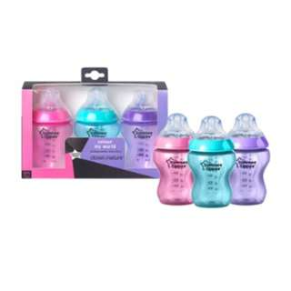 Tommee Tippee Closer to Nature - 3X 260ml Col Bottle Girl