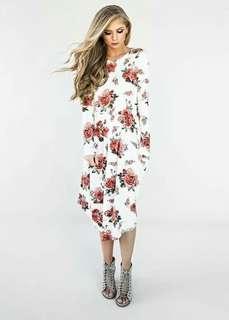 🐊Floral longsleeve pocket dress