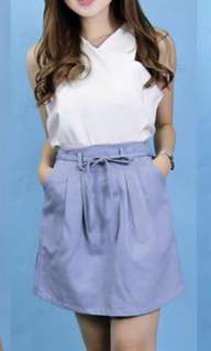 White Cut-in Top and Blue Skirt