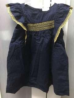 Girl Dress Navy Blue - Ruffles