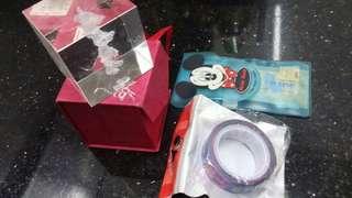 (Mickey mouse )-文具膠帶,膠布,水晶紙鎮(共三件)玩具