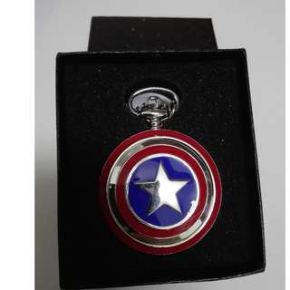 (RA 06)Brand New Pocket Watch With Necklace - Captain America
