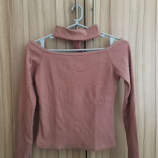 Unbranded Pink Choker Longsleeves Off-Shoulder Top