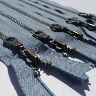 YKK Metal Teeth Zippers- Grey Blue Antique Brass Donut Pull
