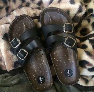 Brown And Black Summer Sandals