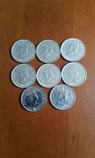 香港硬幣:大1元:女皇頭:全部1972年:/共8個