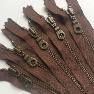 YKK Metal Teeth Zippers- Seal Brown with Antique Brass Teeth and Donut Pull