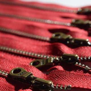 """Metal Teeth Zippers- YKK Antique Brass Donut Pull Number- Cranberry - 10"""" & 14"""""""