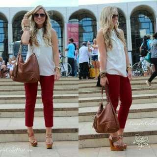 🍃Whiite Polo Shirt Top & Maroon Pants Terno