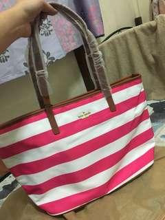 Kate Spade Pink/White Stripes Tote Bag