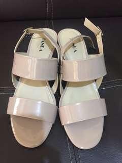 Zanea old rose block heels sandals