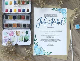 Watercolor calligraphy wedding invite cards (v2)
