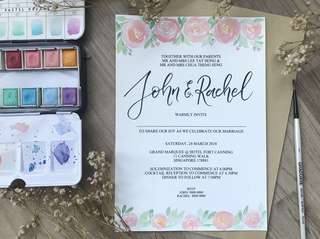 Watercolor calligraphy wedding invitation cards