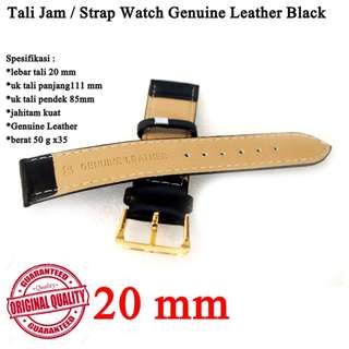 Strap Watch Kulit Genuine Leather Black 20mm