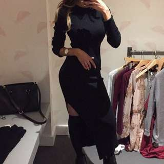 Black bodycon floor length sweater dress with side slit from M boutique