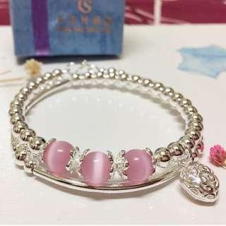 🚚 香港正生純銀飾-愛心粉晶球手環