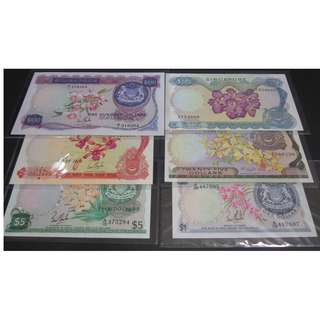 Singapore Orchid Series Notes $1 - $100 Set