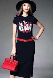 Cartoon Print Side Slit Maxi Dress No Belt