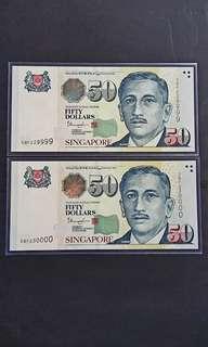 尤索$50  2 pcs 連号