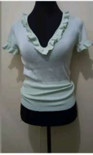 WA674 Mint Green Light Knitted Blouse (Small to Semi Med)