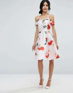 3D Floral Cold Shoulder Dress