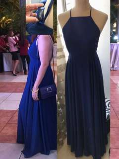 Long Blue Backless Gown Very Classy