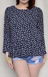 Dark blue tiny flowers blouse