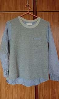 灰色長袖tee 拼藍白直間上衣