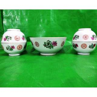 Vintage Bunga Kangkong bowl 5 pieces, old new stock in mint condition. 旧杜鹃花茶碗 5只, 旧库存品相完美。