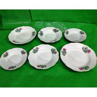Vintage Bunga Kangkong plate 6 pieces, old new stock in mint condition. 旧杜鹃花茶盤 6只, 旧库存品相完美。
