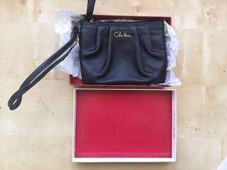 Cole Haan Ruby Wristlet (Black Leather)