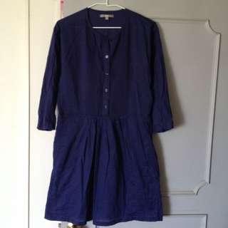 🚚 uniqlo棉100%洋裝。M。薄棉很輕、軟,夏天也可以穿,蠻新