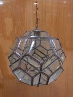 Rare Vintage Retro 1950's Industrial Brass cut Facet Glass ceiling lamp shade light